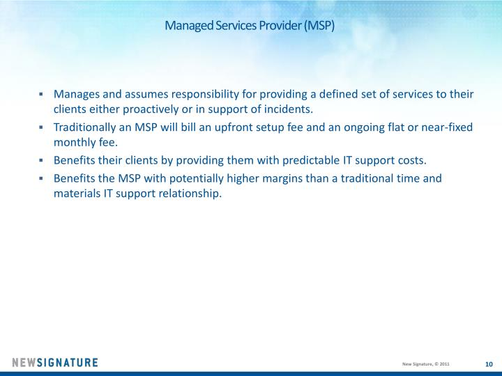 Managed Services Provider (MSP)