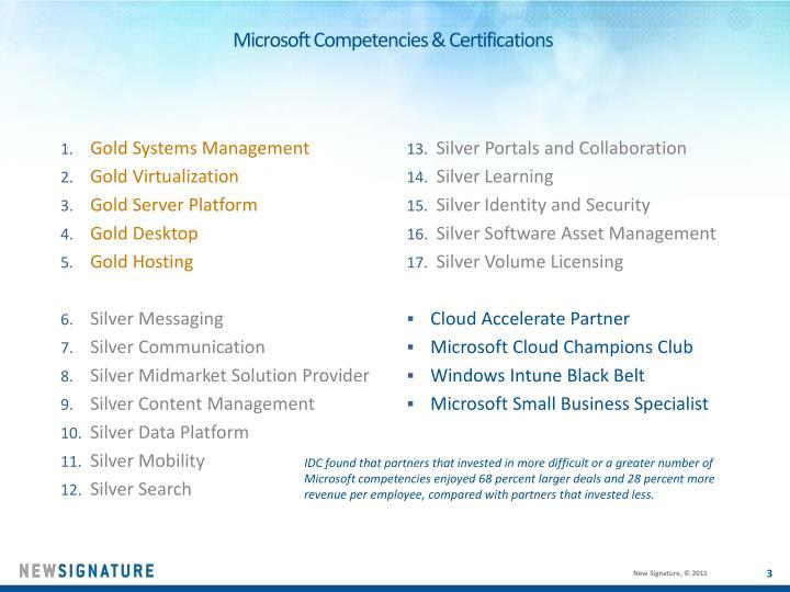 Microsoft competencies certifications