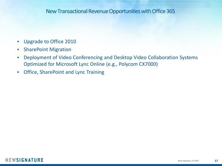 New Transactional Revenue Opportunities with