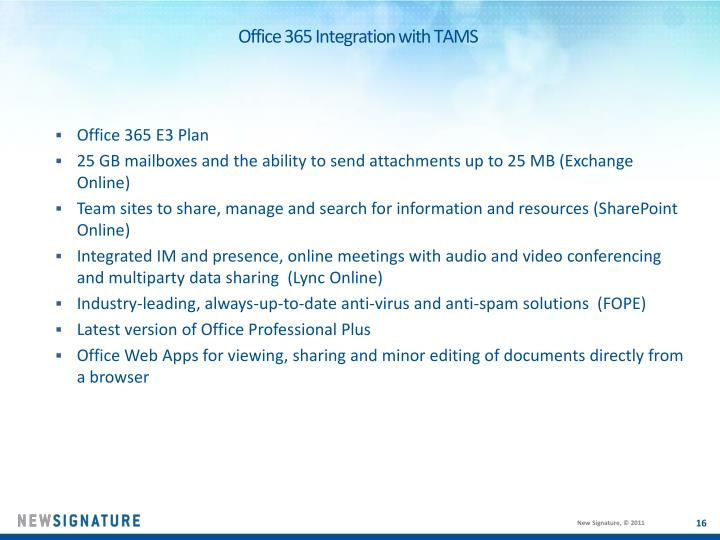 Office 365 Integration with TAMS