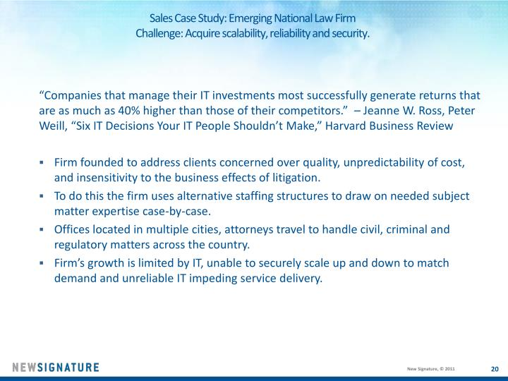Sales Case Study: Emerging National Law Firm