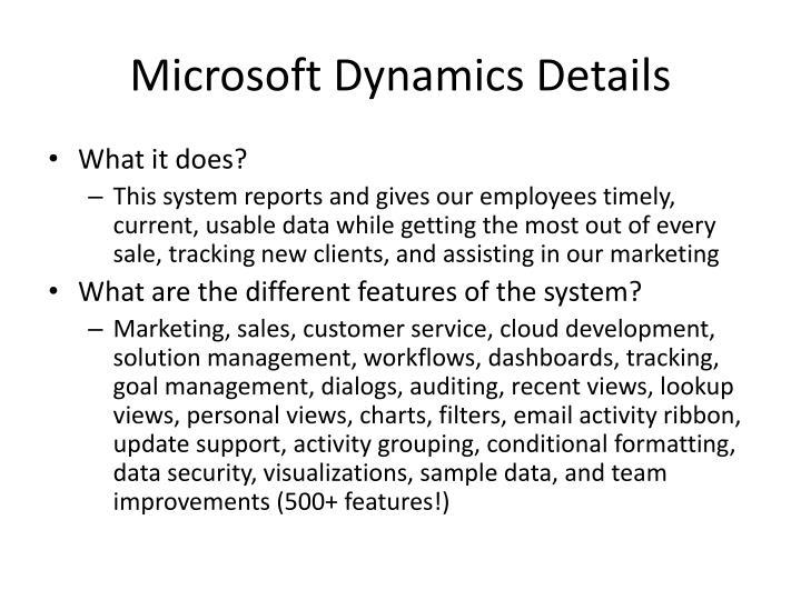 Microsoft Dynamics Details