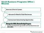 small business programs office mission