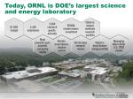 today ornl is doe s largest science and energy laboratory