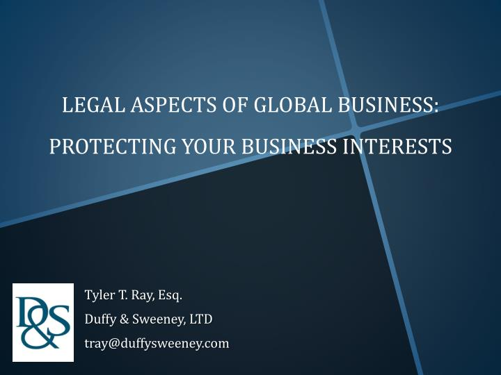 legal aspects of global business protecting your business interests n.