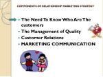 components of relationship marketing strategy
