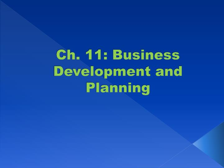 ch 11 business development and planning n.