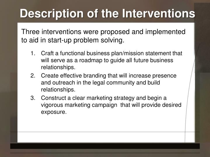 Description of the interventions