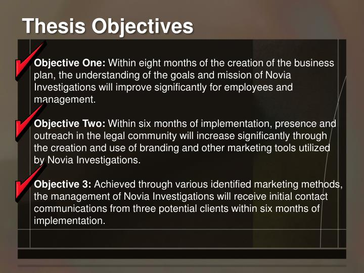 Thesis Objectives