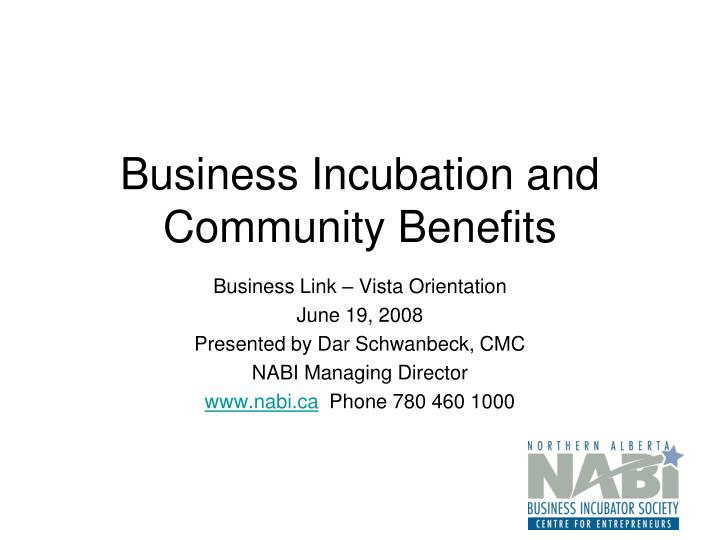 business incubation and community benefits n.