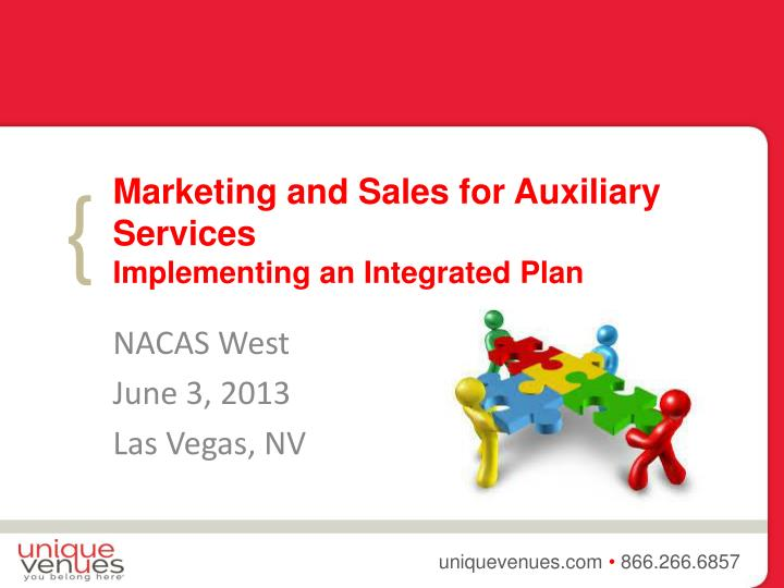 marketing and sales for auxiliary services implementing an integrated plan n.