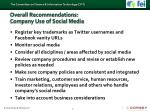 overall recommendations company use of social media
