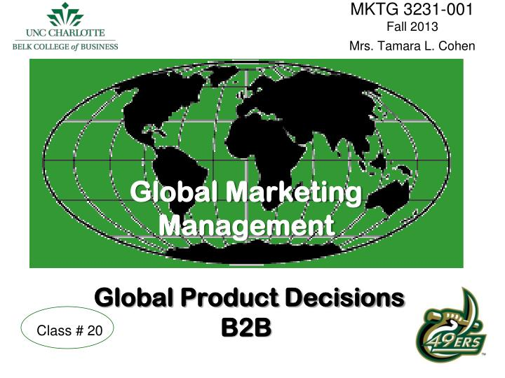 global marketing management global product decisions b2b n.