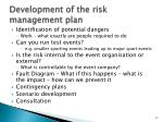 development of the risk management plan