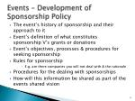events development of sponsorship policy