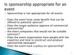 is sponsorship appropriate for an event