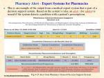 pharmacy alert expert systems for pharmacies