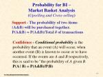 probability for bi market basket analysis upselling and cross selling