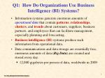 q1 how do organizations use business intelligence bi systems