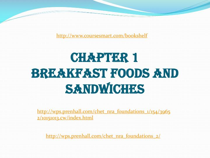 chapter 1 breakfast foods and sandwiches n.