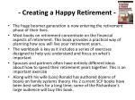 creating a happy retirement