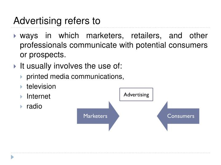 Advertising refers to