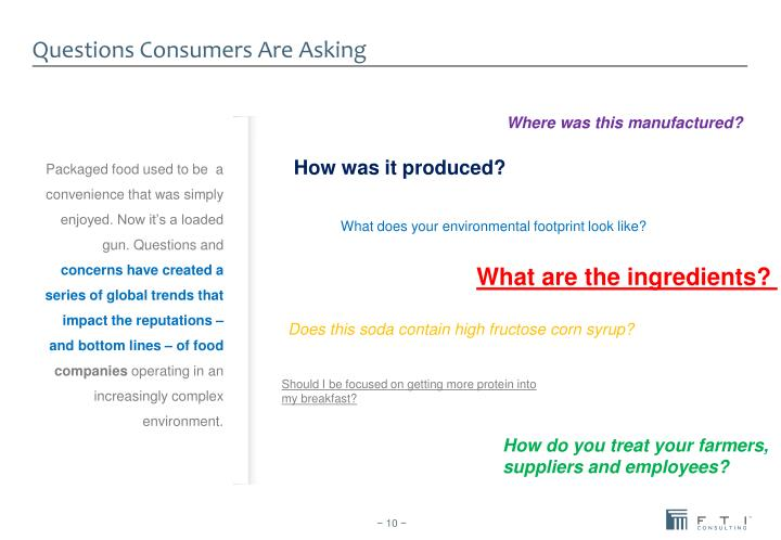 Questions Consumers