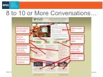 8 to 10 or more conversations