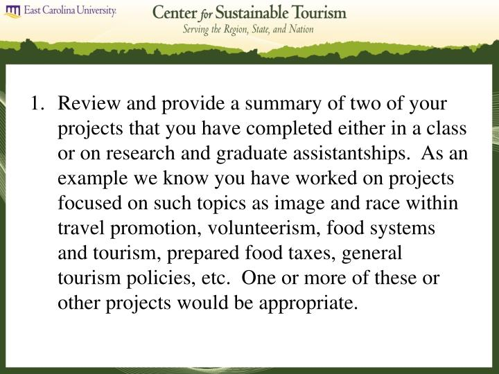 Review and provide a summary of two of your projects that you have completed either in a class or on...