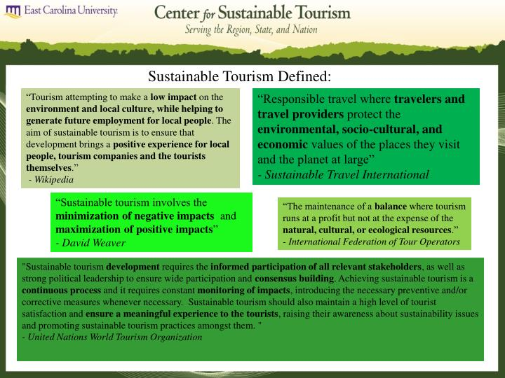 Sustainable Tourism Defined: