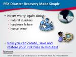 pbx disaster recovery made simple