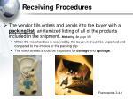 receiving procedures