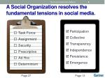 a social organization resolves the fundamental tensions in social media