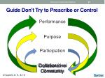 guide don t try to prescribe or control