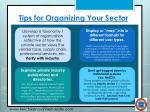 tips for organizing your sector