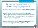 tips for successful research and industry engagement