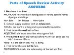 parts of speech review activity answers