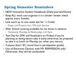 spring semester reminders