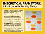 theoretical framework kolb s experiential learning theory