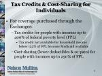tax credits cost sharing for individuals