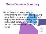 social value in summary