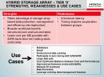hybrid storage array tier 0 strengths weaknesses use cases