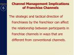 channel management implications of franchise channels