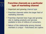 franchise channels as a particular type of marketing channel