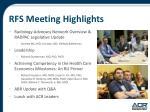 rfs meeting highlights