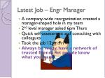 latest job engr manager
