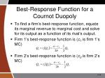 best response function for a cournot duopoly
