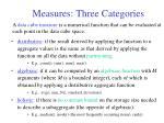 measures three categories