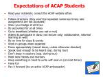 expectations of acap students
