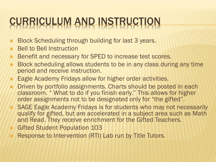 Block Scheduling through building for last 3 years.